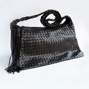 Francesco Biasia Black Woven Leather Handbag